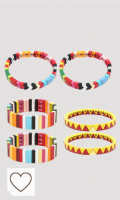 Team99 6 pulseras bohemias elásticas coloridas esmaltadas rectangulares esmaltadas, apilables, esmaltadas, arcoíris, pulsera de joyería