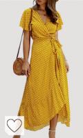 Vestido color amarillo con estampado de flores. Allegra K Vestido Floral con Cinturón para Mujer Cuello En V Mangas De Pétalos
