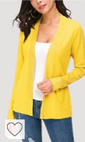 Cardigan Mujer color amarillo. Cárdigan de Punto Ligero Delantero Abierto de Manga Larga para Mujer
