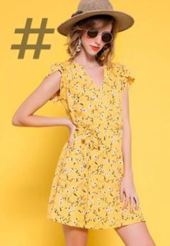 Tendencias colores de moda primavera-verano 2021. Color amarillo de moda para primavera-verano 2021. Vestido de color amarillo con estampado a flores. Vestido amarillo para mujer. Allegra K Vestido Floral con Cinturón para Mujer Cuello En V Mangas De Pétalos