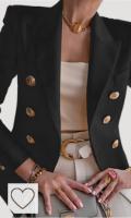 Chaqueta blazer mujer de color negro. Chaqueta Blazer para Mujer Traje de Manga Larga Cuello de Solapa con Botones Casual Elegante para Trabajo Oficina Negocio OL