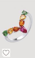 Jewelco London Rodio Bañado en Plata de Ley Multicolor Pear-Shape Circonita Cúbica Arcoiris Tropical Espoleta Anillo de Eternidad, Talla