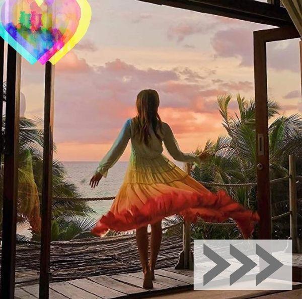 Tendencias Moda Mujer. Vestido primavera verano con los colores del arcoiris. Vestido de Gasa Colorido para Mujer, Manga Larga, Cuello en V, Princesa, Vestidos Sueltos