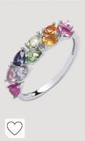 Jewelco Europa Anillo de plata de ley chapado en rodio multicolor con forma de pera y circonita arcoíris de media eternidad