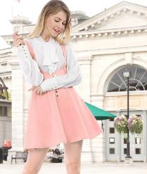 Vestido color rosa pastel. Allegra K Vestido Decoración De Botones por Encima De La Rodilla Dobladillo Acampanado Falda De Tirantes para Mujer