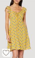 Vestido mujer de color amarillo. Springfield Vestido de Fiesta para Mujer. Vestido amarillo