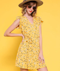 Vestido amarillo para mujer. Allegra K Vestido Floral con Cinturón para Mujer Cuello En V Mangas De Pétalos