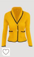 Blazer amarillo. Además Blazers Tamaño De La Chaqueta del Bloque del Color De Las Mujeres Outwear Informal