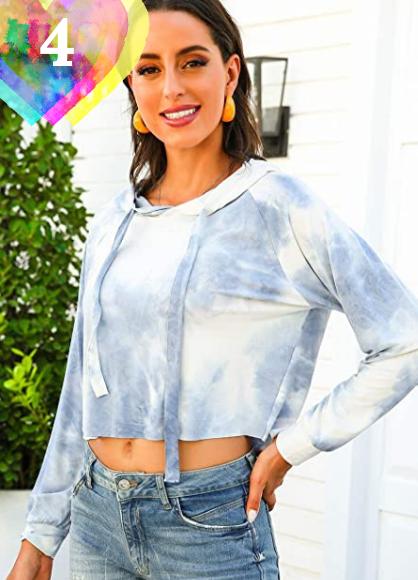 Sudadera Tie Dye Azul Mujer para primavera 2021. FEOYA Mujer Sudaderas Tie-Dye con Capucha Manga Larga Casual de Moda Ropa Básica Suelta para Primavera Otoño