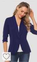 Blazer chaqueta mujer azul marino. iClosam Blazer Mujer Talla Grande Chaqueta Cardigan Elegante Slim Fit Casual OL Oficina Negocios