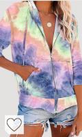 iMixCity Tie-Dye - Sudadera con capucha para mujer, holgada, de punto, informal, ligera, con bolsillos