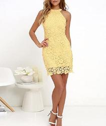 Vestido mujer de encaje de color amarillo. MISSMAO Mujeres Vestido Encaje Bodycon Corto sin Mangas Casual Slim Falda para Fiesta Mini Vestido