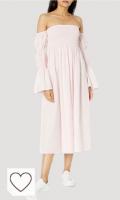 Vestido rosa pastel para primavera. Marca Amazon - Ella Vestido Midi Con Mangas Abombadas Y Hombros Descubiertos - dresses Mujer por The Drop