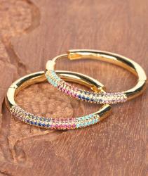 N \ A Pendientes de circonita cúbica arcoíris, Pendientes de aro Gruesos hipoalergénicos Ligeros, para niñas, joyería de Moda, Regalos para Mujeres