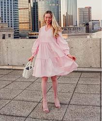 Vestido mujer color rosa pastel para primavera 2021. Marca Amazon - The Drop Jade Vestido Suelto de Popelín con Niveles con Manga Larga Globo