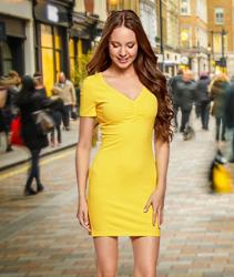 Vestido de color amarillo. oodji Ultra Mujer Vestido de Silueta Ajustada con Escote en V