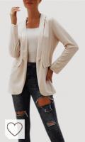 Blazer chaqueta mujer de color blanco. SUNNSEAN Mujeres Blazer Chaqueta Mujer Manga Larga Chaqueta Casual Ocasional Ajustada Chaqueta de Manga Larga con cinturón y Chaqueta de Traje de Solapa