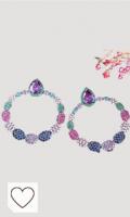 Pendientes de gota redondos de círculo grande de color arcoíris de circonita cúbica múltiple para joyería de mujer