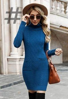 Vestidos punto cuello alto moda otoño invierno 2021-2022